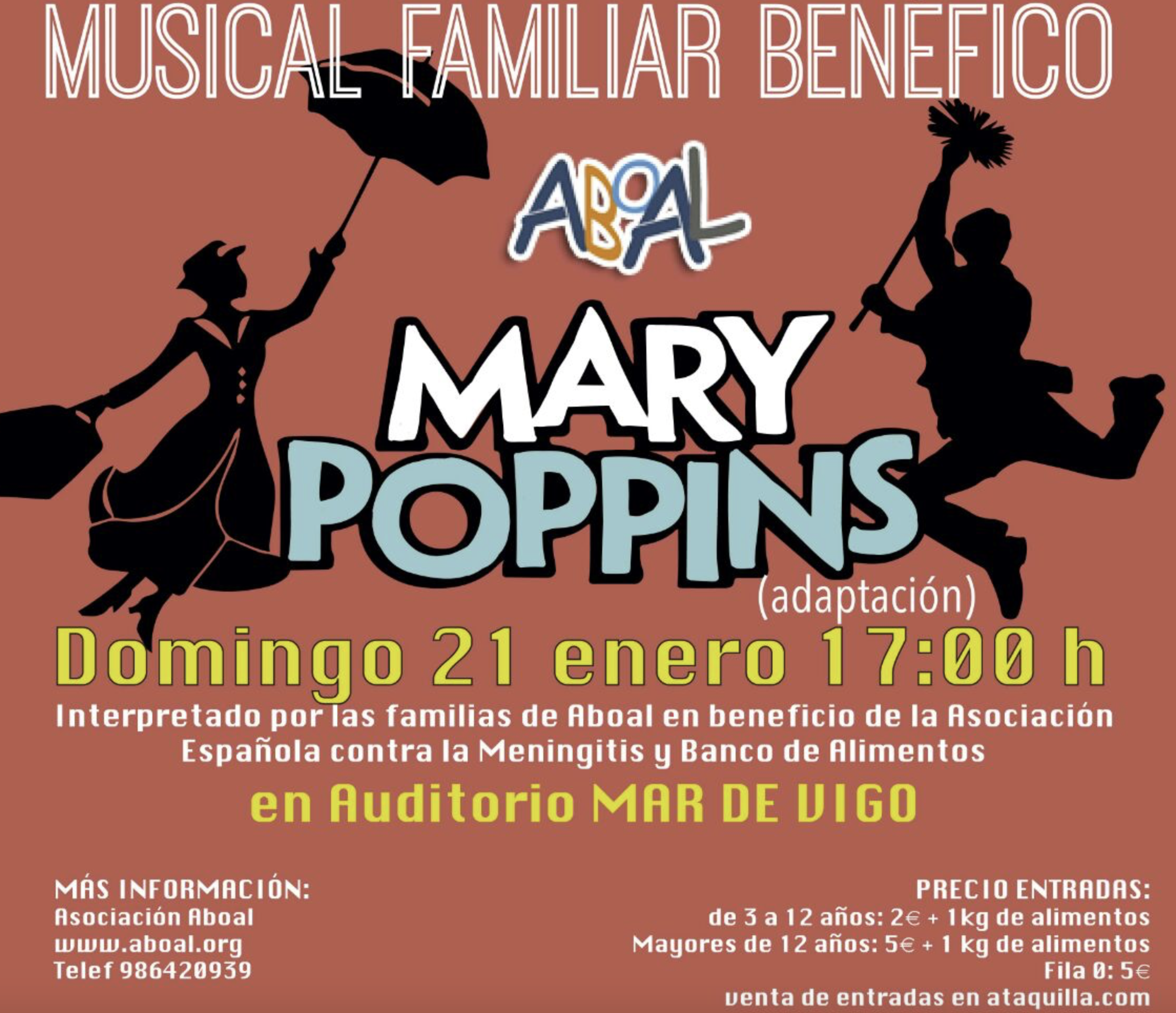 Musical Familiar Benéfico Mary Poppins – Auditorio Mar de Vigo – 21 de Enero